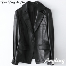 2020 Women Spring Genuine Real Sheep Leather Jacket H38