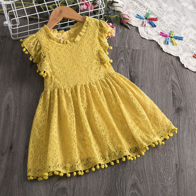 3 4 5 6 7 8 Years Toddler Kids Baby Girls Dress Fly Sleeve Dresses For Girl Fashion Tassel A-line Sundress Summer Child Clothing