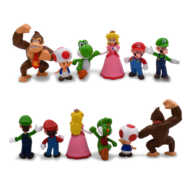 6Pcs/Set 3-7cm Super Mario Bros PVC Action Figure Toys Dolls Mario Luigi Yoshi Mushroom Donkey Kong In Gift Box Lovely Kids Gift 2