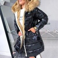 Cotton Padded Down Jacket Women Winter Coat Warmness Plus Size Black Overcoat Parka Basic Jackets Thick Fleece Fur Hood Outwear