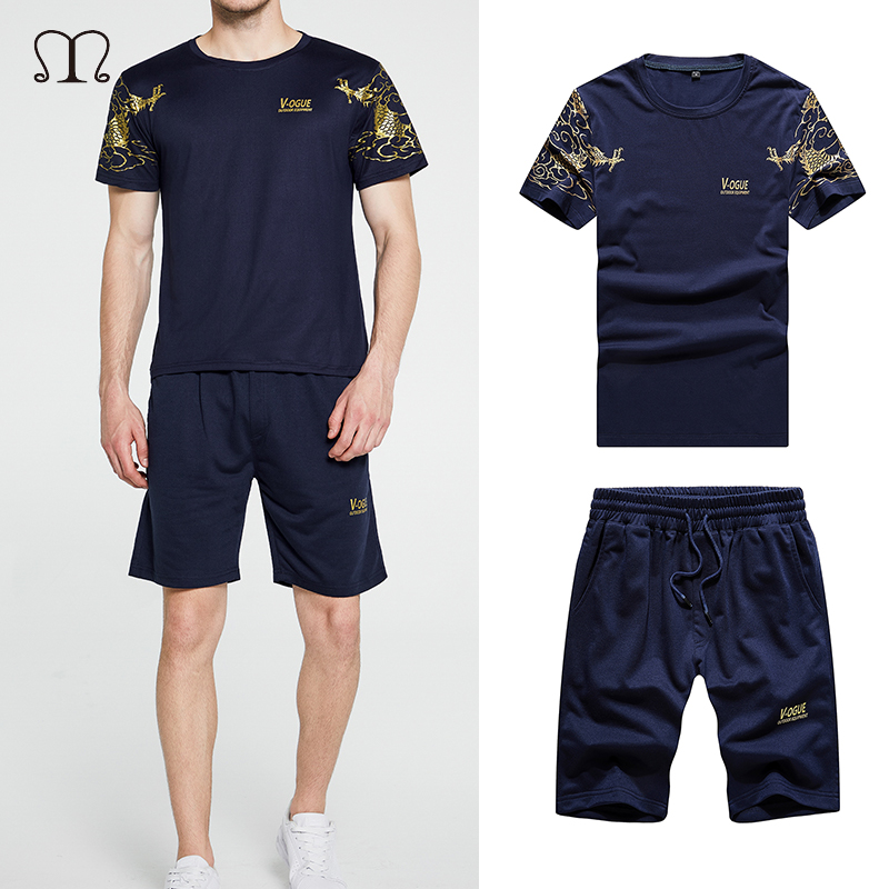 Summer Mens Tracksuit Casual Brand Shorts Sets Men Cotton Short Sleeve T-Shirt Top+Shorts Two Piece Sets Male Sportswear Outfit