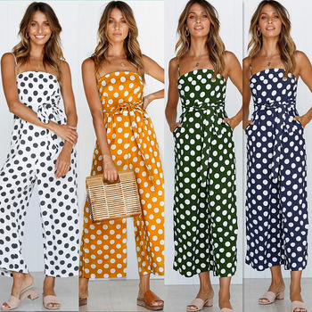 цена на Polka Dot Jumpsuit Sleeveless Off Shoulder Spaghetti Strap Women Jumpsuits Summer Casual Slim Wide Leg Rompers Womens romper