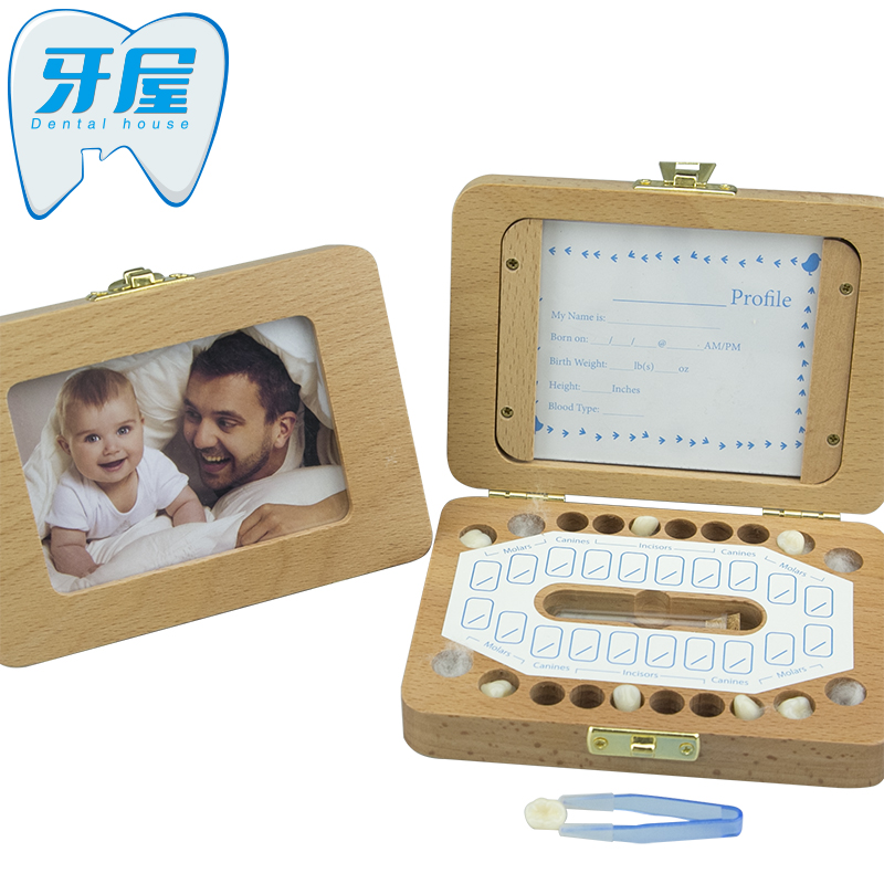 Explosive Baby Solid Wood Tooth Box / Photo Frame Photo Storage Box / Tooth Collection Box / Growth Memorial Tooth Box Souvenir