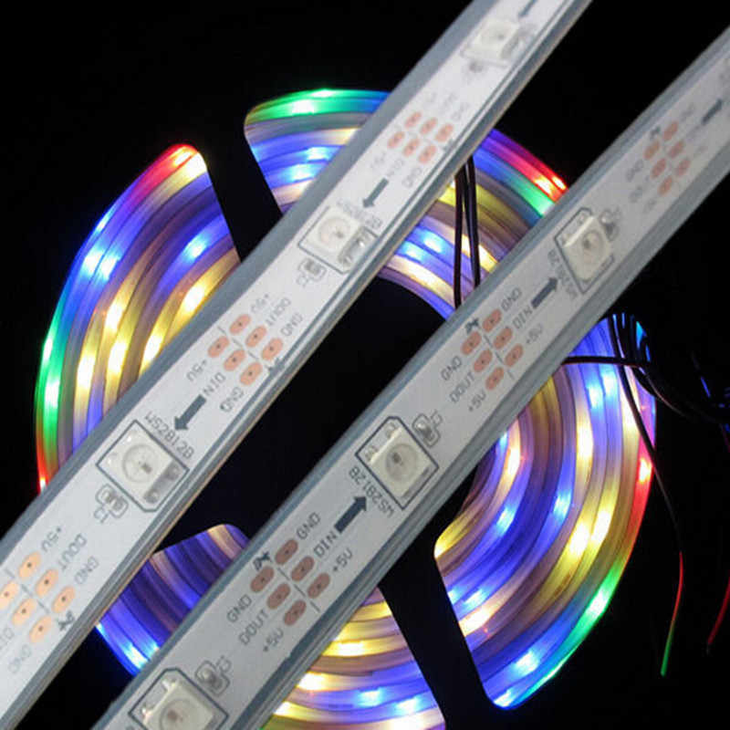 1M Pixel LED Strip Lampu WS2812 IC WS2812B Secara Individual Addressable Smart RGB Penuh Warna RGB LED String Tape Pita lampu IP67