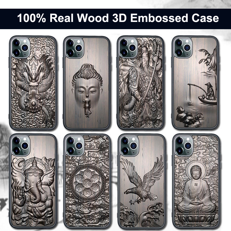 3D Relief Embossed Wolf Tiger Fish Sandalwood Case for iPhone 12 Pro Max