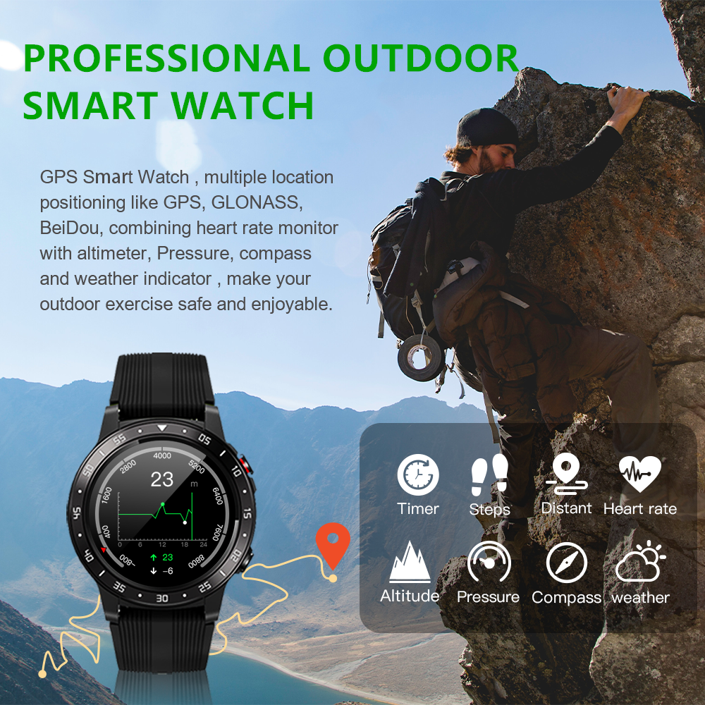 Sports GPS Smartwatch With Barometer Altimeter Compass Heart Rate Pedometer 4G SIM Call Outdoors GPS Smart Watch 2020