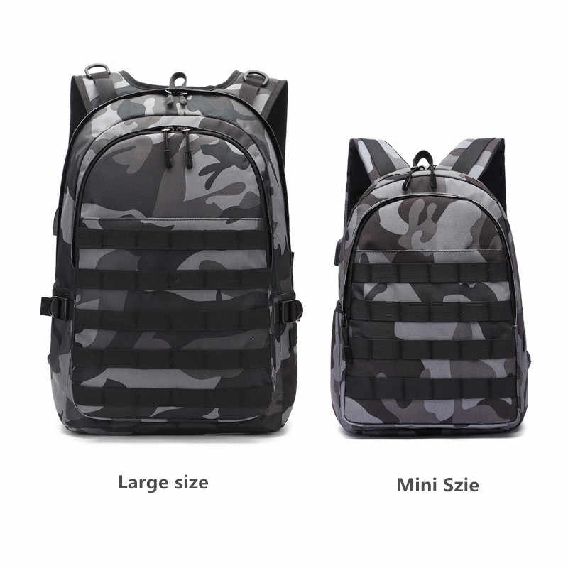 PUBG Backpack Men School Bag Mochila Pubg Battlefield Infantry Pack Camouflage Travel Canvas USB Headphone Jack Back Knapsack