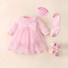 Vestidos para niña recién nacida, ropa para 0-3 meses, conjunto, trajes para fiesta de cumpleaños, zapatos y calcetines largos para 0-1 años, bautizo