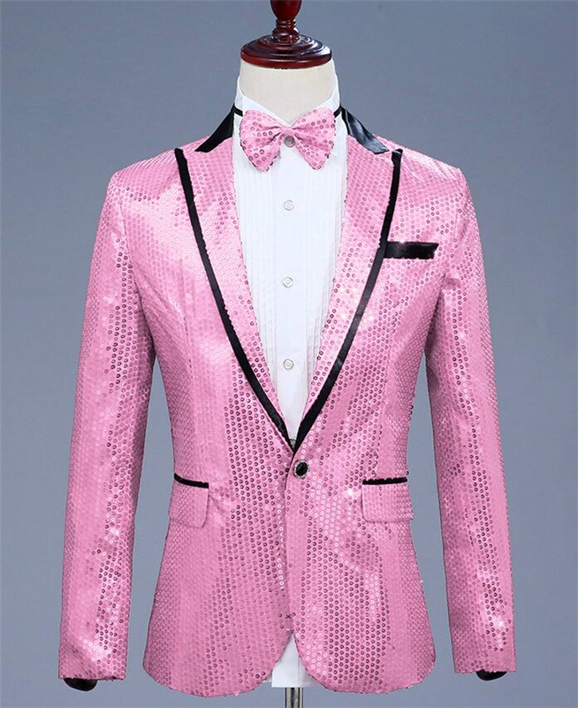 Pink Men Shiny Sequined Glitter Embellished Blazer Jacket Men Nightclub Blazer Host Wedding Party Suit Jacket Stage Singers Coat