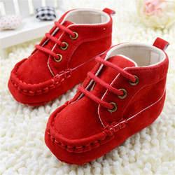 Милая детская обувь для малышей; кружевные ботиночки; мягкие красные хлопковые пинетки; 0-18 м # E