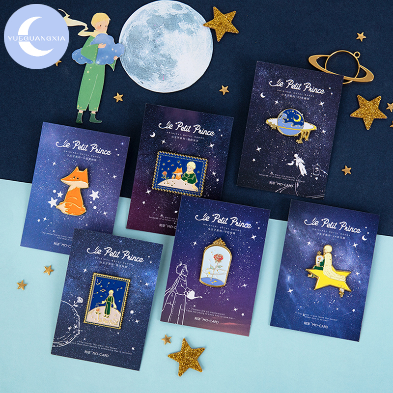 YueGuangXia 4 Designs Little Prince Dreamy Tale Star Metal Memo Pad Photo Holder Deco Standing Memo Smooth Badges Easy To Remove