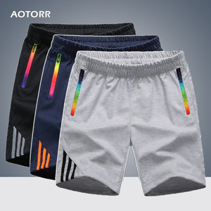 Mens Shorts Summer Sportswear Men Zipper Pocket Casual Comfort Striped Swearpants Breathable Quick-dry Trousers Big Size Fitness