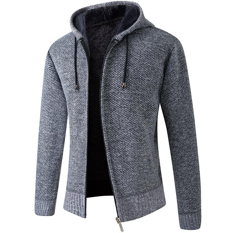 2020 New Cardigan Mens Hooded Collar Fleece Warm Sweaters Coat Men Coat Hoodies Jacket Thick Full  Solid Cardigan Male Coats 3