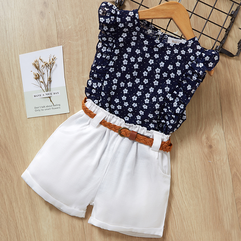 Menoea Girls Suits 2020 Summer Style Kids Beautiful Floral Flower Sleeve Children O-neck Clothing Shorts Suit 2Pcs Clothes 9