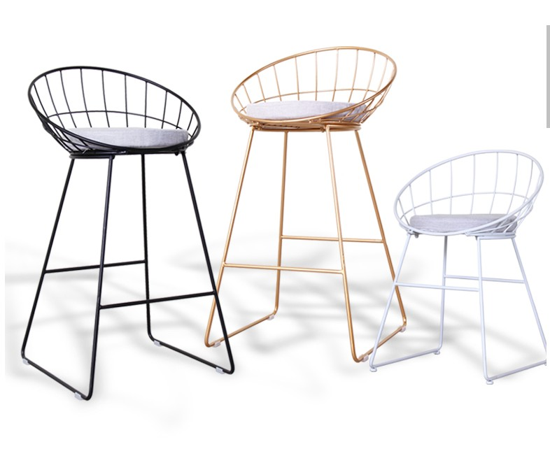 Simple Bar Stool Wrought Iron  Chair Gold High  Modern Dining   Leisure  Nordic   45/65/75/85cm