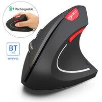 Беспроводной игровой Мышь Bluetooth 3,0 Мышь 3 Регулируемый Точек на дюйм 800 1600 2400 6 кнопок Перезаряжаемые эргономичная Вертикальная мышь для ПК