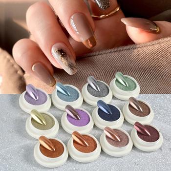 Stałe proszki lustrzane błyszczyki do paznokci proszek do paznokci pył do Pigment do paznokci cekiny do paznokci ozdoby do paznokci do własnoręcznej dekoracji tanie i dobre opinie 1 Box Powder 49561 Nail Glitter
