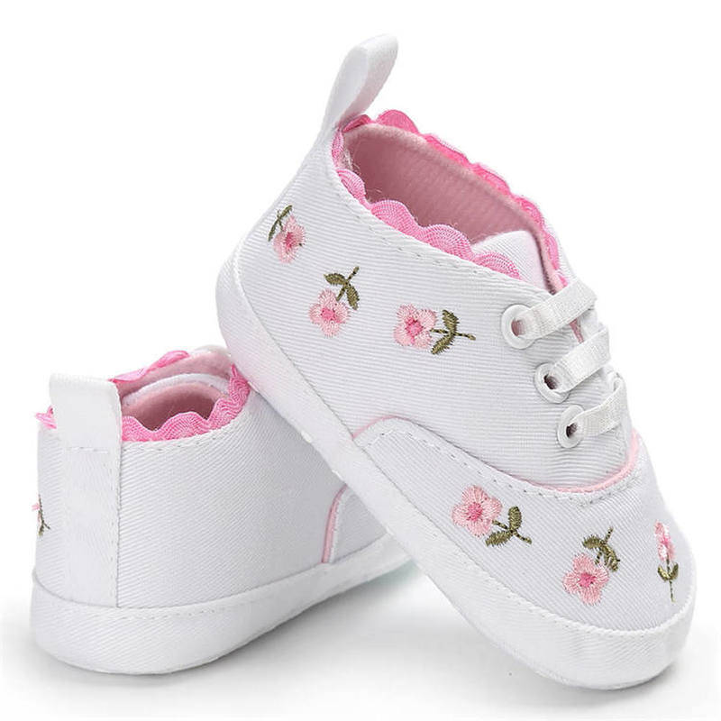 Toddler Newborn Shoes Embroidery Flower Sneaker Cotton Soft Sole Infant First Walkers Crib Canvas White Baby Girl Shoes