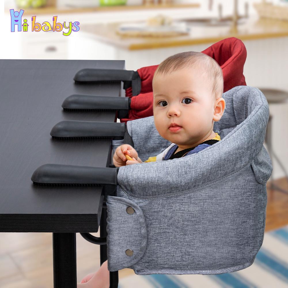 Portátil do bebê highchair cadeira de alimentação dobrável assento booster cinto de segurança jantar gancho-na cadeira arnês almoço almofada