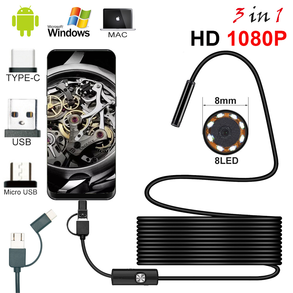 Hard Cable 8.0mm Endoscope Camera 1080P HD USB Endoscope With 8 LED 1/2/5M Cable Waterproof Inspection Borescope For Android PC