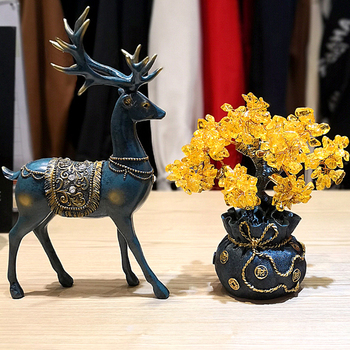 Crystal Fortune Tree Ornament Wealth Feng Shui Tree Lucky Money Tree Ornament Resin Deer Figurine Animal Tabletop Crafts GY18