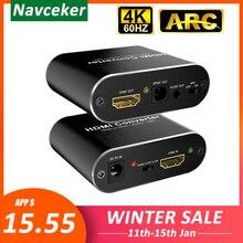 4 k 60 hz hdmi áudio extrator 5.1 arco hdmi áudio extrator divisor hdmi para áudio extrator óptico toslink spdif + 3.5mm estéreo