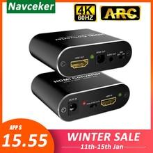 4K 60Hz HDMI Audio Extractor 5.1 ARC HDMI Audio Extractor Splitter HDMI Audio Extractor Ottico TOSLINK SPDIF + 3.5mm Stereo