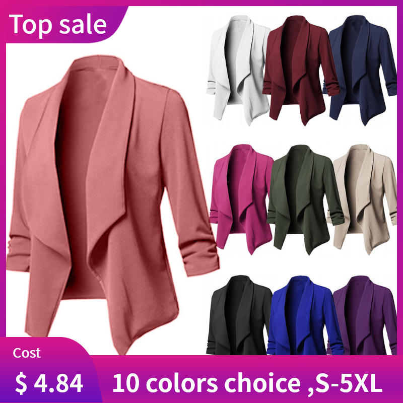 OL Style Ladies Solid Open Front  Cardigan Long Sleeve Blazer Casual women jackets office Coat women blazers plus size S-5XL