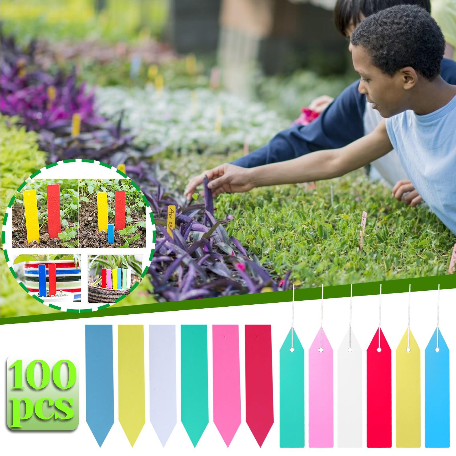 100pcs 6 Colors 0.4X2in Plastic Plant Tags Nursery Garden Label Waterproof Reusable Pot Plant Markers Garden Plant Tags