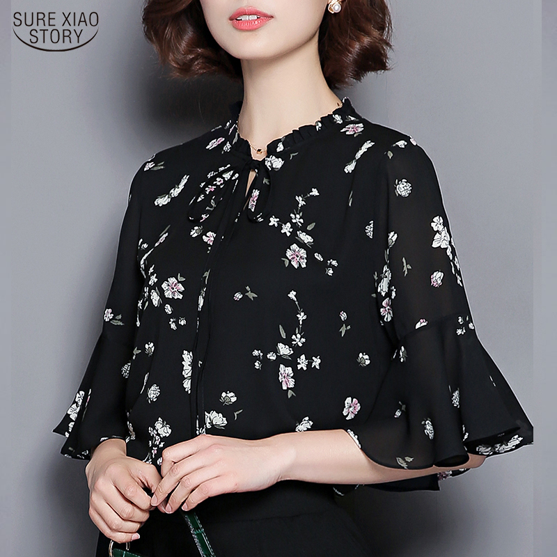 Blusas Mujer De Moda 2020 Casual Printed Plus Size Chiffon Blouses Women Summer Loose Office Lady Pullover V-neck Tops 9698