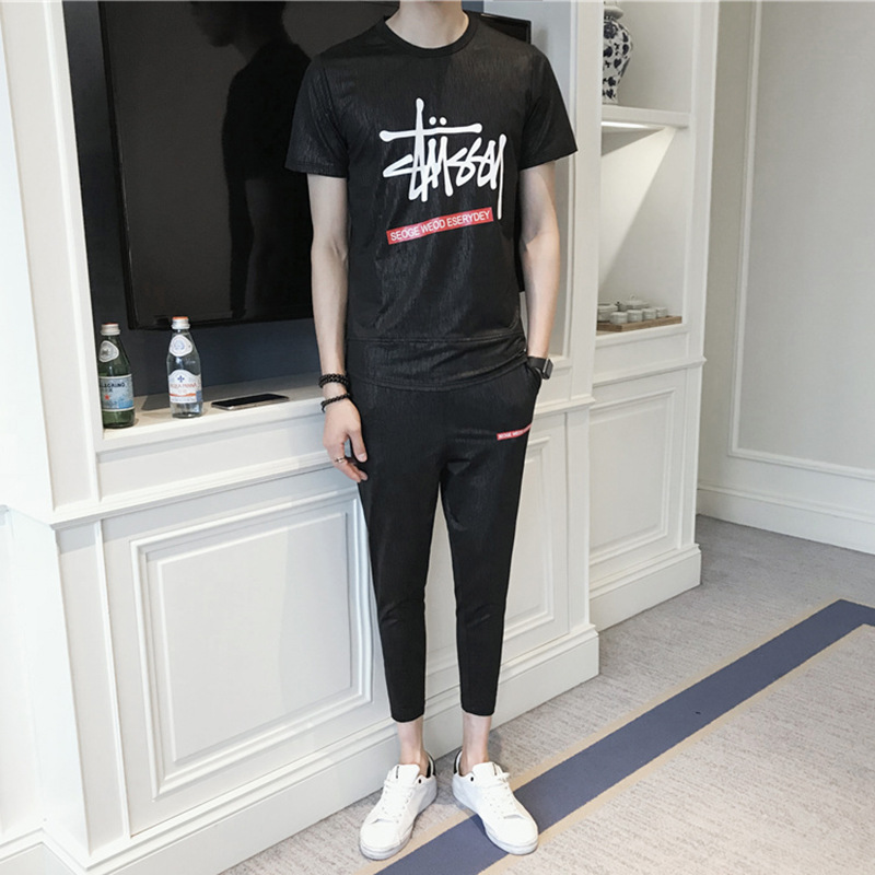 Sports Set Men's Summer 2018 New Style Short Sleeve Trousers Running Sports Clothing Leisure Suit Two-Piece Set