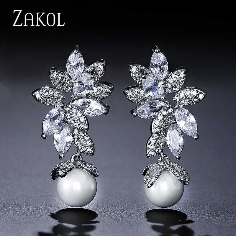 ZAKOL New Statement Brincos Micro Paved Tiny CZ Zircon Simulated Pearl Earrings Pendant Necklace Jewelry Set for Women Girl Gift
