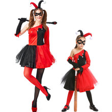 Umorden Red Black Clown Joker Costume Harley Quinn Cosplay for Teen Girls Women Halloween Mardi Gras Party Dress my 1st mardi gras clown hat white top green girls baby skirt cloth outfit 3 12m