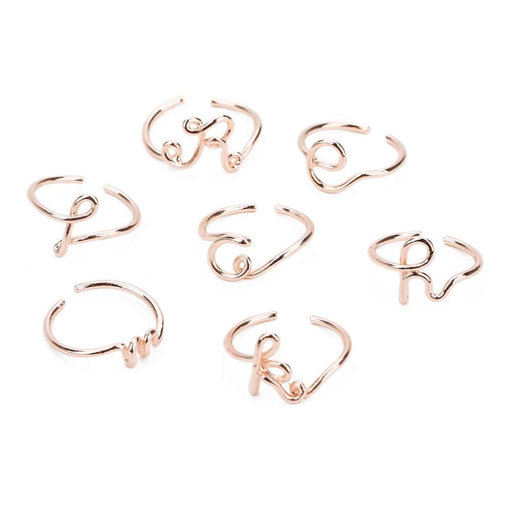 Унисекс Золотой Серебряный цвет A-Z 26 букв начальное название кольца для мужчин и женщин геометрический сплав творческие кольца для пальцев ювелирные изделия KCR246