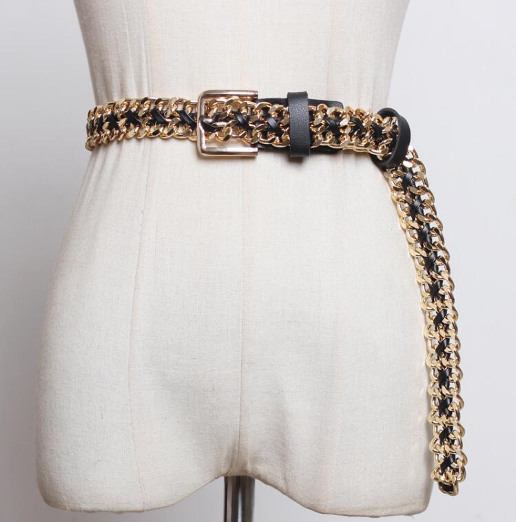 Women's Runway Fashion Metal Knitted Pu Leather Cummerbunds Female Dress Corsets Waistband Belts Decoration Wide Belt R2402