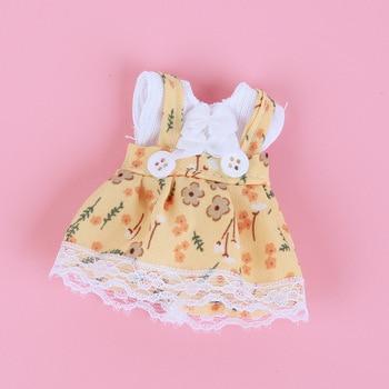 1/8 BJD Dolls Clothes Set 16-18 CM BJD Dolls Lace Flower Dress Sweater 6 Inch BJD Dolls Tops With Skirt For Girls Dolls Clothes - Yellow DD