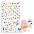 2021 летние цветочные Фламинго наклейки для ногтей 3D абстрактный дизайн лица Леди клейкий слайдер обертывания маникюр Дизайн ногтей декорат...