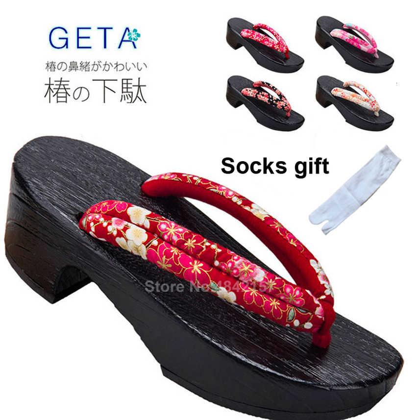 Japanese Style Wooden Geta Clogs Flip Flops Sandals Footwear Cosplay 4 Colors