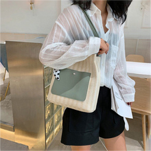 Fashion Style Shoulder Bag Reusable Casual Handbag Large Capacity Solid Color Design Beach Shopping Bag Simple Messenger Bag punk style solid color and rivets design women s shoulder bag