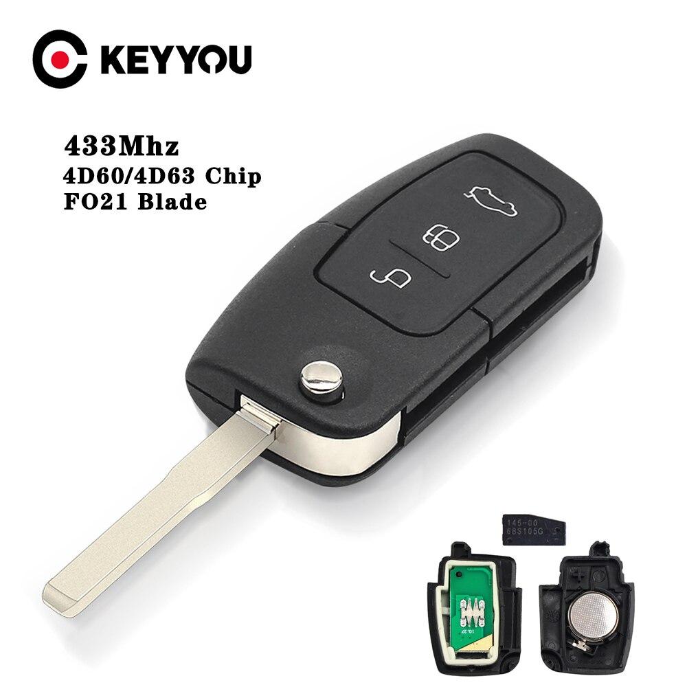 KEYYOU 433 МГц Автомобильный Дистанционный ключ 4D60 4D63 чип для Ford Fusion Focus Mondeo Fiesta Galaxy HU101 чехол для откидного ключа 80/40 бит