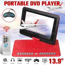 LEORY Mini Portable DVD Player 13.9'' MP3 CD Digital Multimedia Player USB SD Support TV Game Card Read Function w/Gamepad