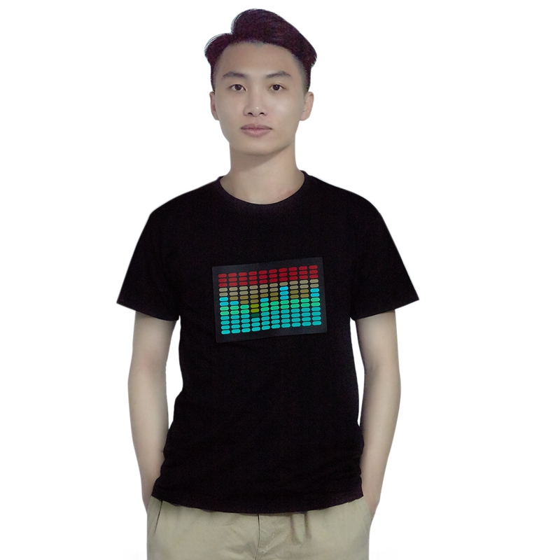 Men Sound Activated Led T-Shirt Light Up Flashing Rock Disco Equalizer Short Sleeve Led T Shirt L