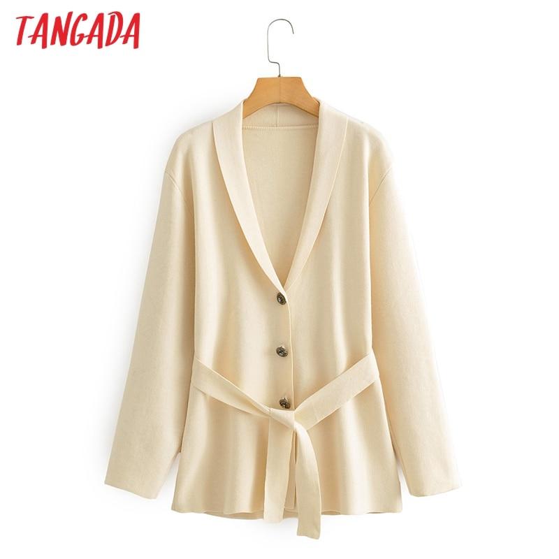 Tangada 2020 automne hiver femmes surdimensionné beige tricot cardigan vintage pull bureau dame cardigan manteau AI15 | AliExpress