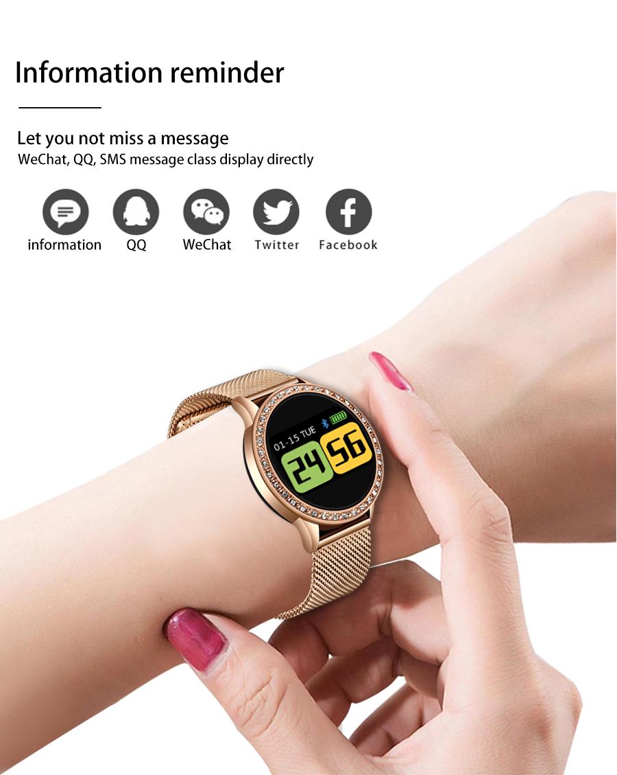 Reloj inteligente LIGE para mujer con monitor, seguidor Fitness de frecuencia cardíaca y presión arterial 12