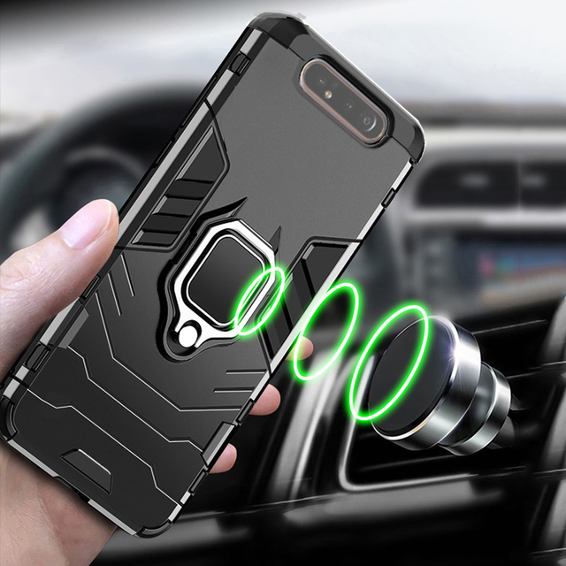 For Samsung Galaxy A80 Case Armor PC Cover Finger Ring Holder Phone Case For Samsung A 80 Case 360 Shockproof Bumper Hard Shell 6