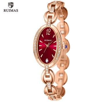 RUIMAS Women Luxury Brand Watches Simple Quartz Lady Waterproof Wristwatch Female Fashion Casual Red Watch Clock reloj mujer 597