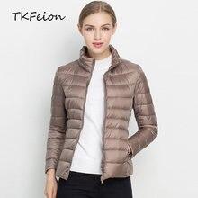 Abrigos cálidos con plumas de pato para mujer, chaqueta informal con cuello alto, estilo fino ligero, y 4XL 3XL, para primavera e invierno, 2019
