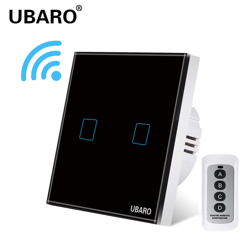 UBARO EU/UK Remote Control Switch Crystal Glass Panel Smart home wall light lamp Wireless Controller Switches 100-240V 433 2Gang