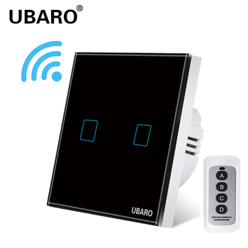 UBARO EU/UK Remote Control Switch Crystal Glass Panel Smart home wall light lamp Wireless Controller Switches 100-240V 433 2Gang chint lighting switches 118 type switch panel new5d steel frame four position six gang two way switch panel