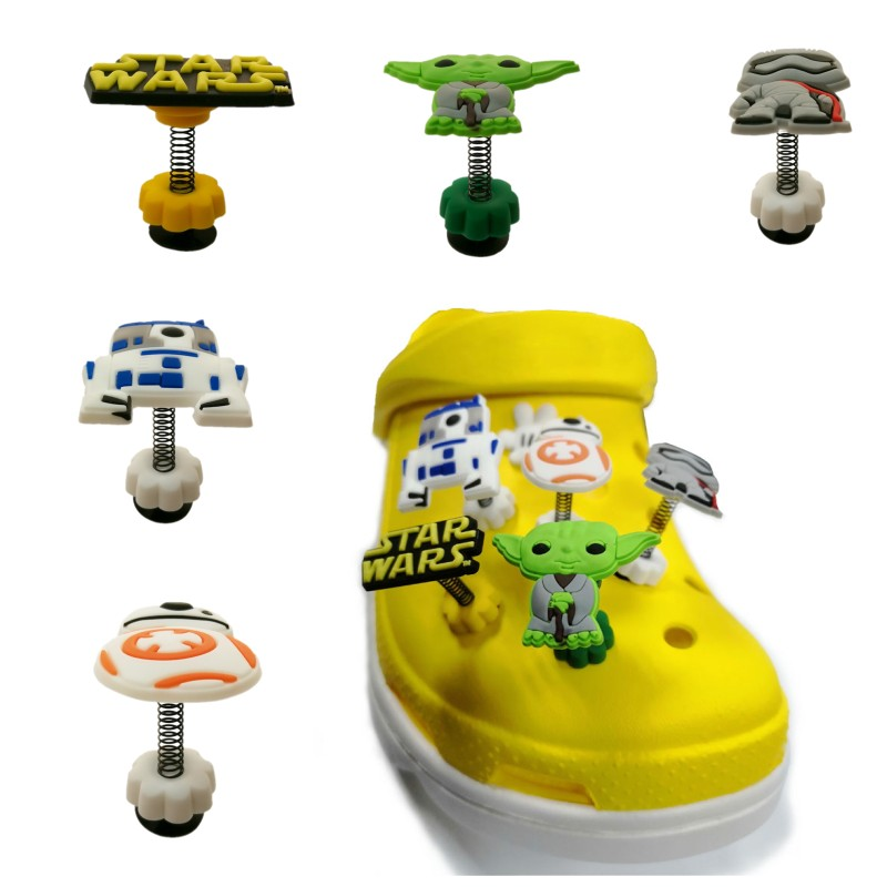 NEW ! 1pcs STAR WARS Spring/Standing Shoe Charms Crocse Accessories Jibz Croc Charms Gifts Decoration Birthday Gifts For Kids